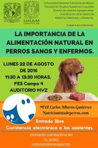<center>Conferencia Gratuita de Nutrición Canina en la UNAM</center>
